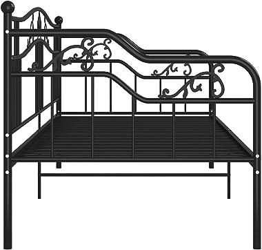 SKM Cadre de canapé-lit Noir Métal 90x200 cm-761