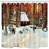 MMPTN Ölgemälde Duschvorhänge Winter Log Cabin In Grove Schnee Mehltauwiderstandsfähiger Polyester Bad Vorhang Bad Duschvorhang mit Haken 71X71in Badzubehör