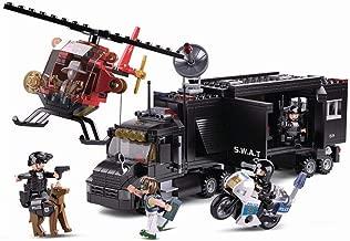 SlubanKids SWAT Police Mobile Command Center, Helicopter, Motorcycle, K9 Dog, Building Blocks 540 Pcs Set Building Toy Police Vehicle | Indoor Games for Kids