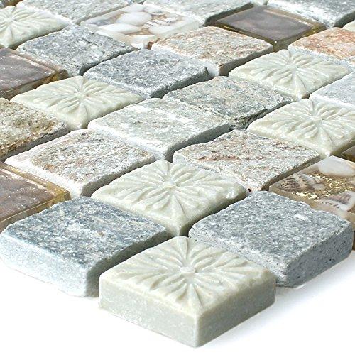 Quarzit Naturstein Glas Mosaik Fliesen Harmonia Gold Beige für Wandverkleidung Küchenrückwand Badezimmer Fliesenspiegel Duschwand Bad