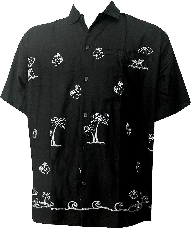 LA LEELA Men's Trendy Button Up Sleeve Tulsa Mall Short Shirt A Low price Hawaiian