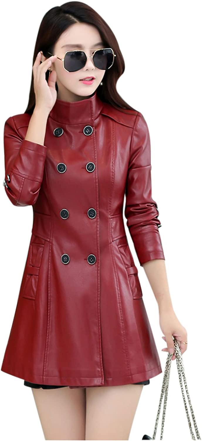Yeokou Women's Casual Slim Double Breasted Faux PU Leather Jacket Trench Coat