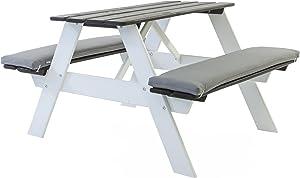 Java Exclusiv Ambientehome Visby - Mesa con bancos para picnic, diseño infantil, color blanco y gris