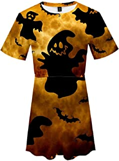 Howely Women Lounge Floral Print Round Neck Short Sleeves Halloween Dress