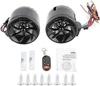 Acouto Motorcycle ATV Alarm Audio Sound System Stereo Speakers Radio MP3 Music Player ATV Remote Control Alarm Speaker Scooter(Black)