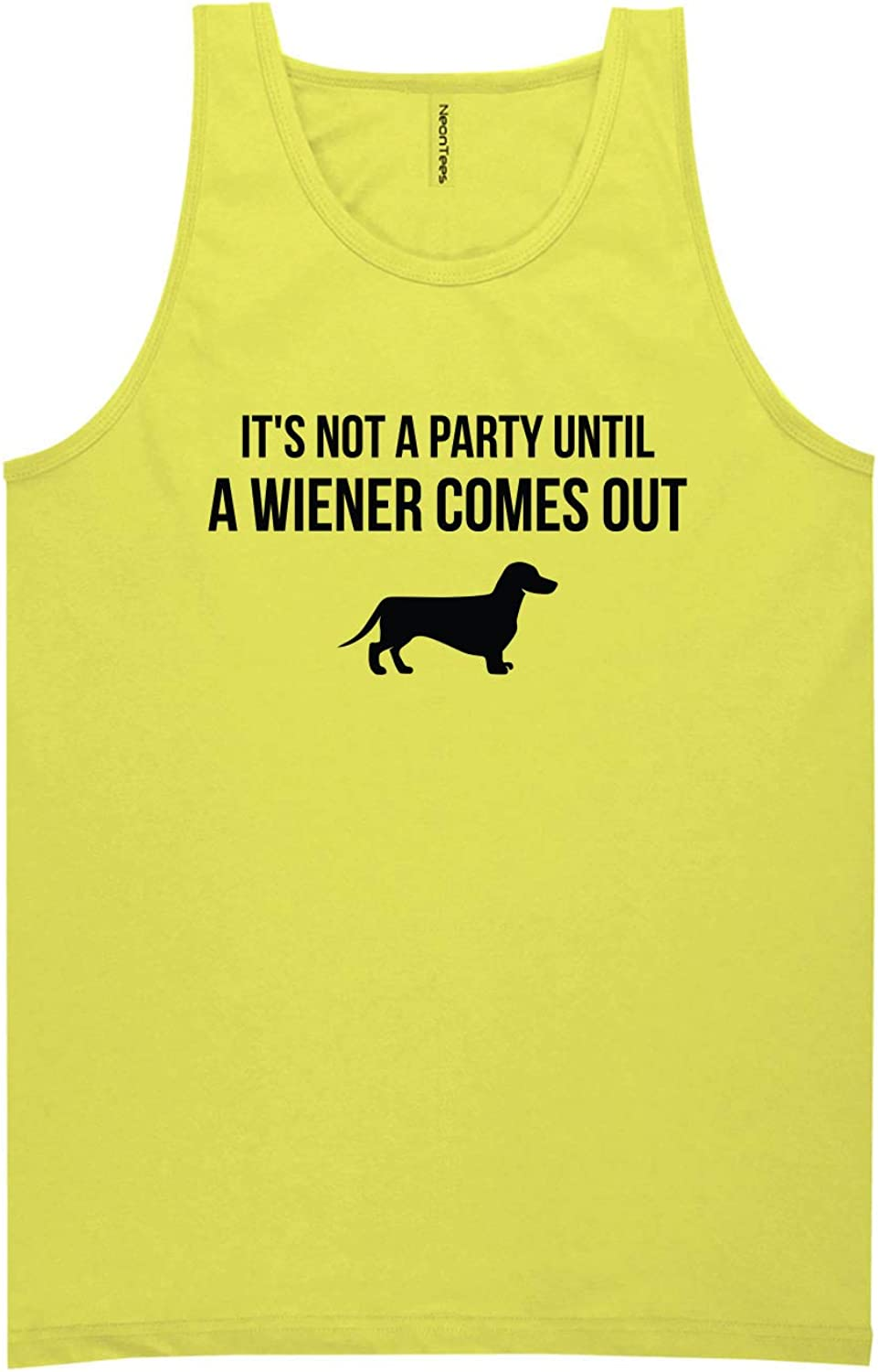 It's Not A Party Until A Wiener Neon Yellow Tank Top - XX-Large