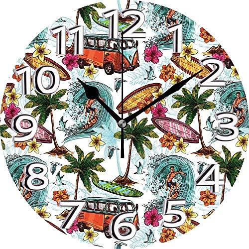 AZHOULIULIU Co.,ltd Ocean Hawaiian Surfer on Wavy Deep Sea Retro Style Palmeras Flores Tablas de Surf Imprimir Reloj silencioso Multicolor