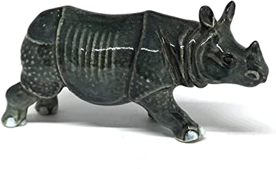 ZOOCRAFT Collectible Ceramic Rhino Figurine Wild Animal Hand Painted Porcelain Decor