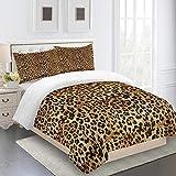WAFJJ Fundas Nórdicas 3D Amarillo y Leopardo Colcha Estampada Juego De Ropa De Cama 3 PCS Fundas De Edredón Fundas De Almohada para Niño Cama 90/135/150/180 Tamaño:(para Cama de 90) 140x200cm