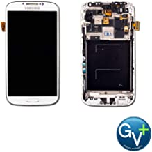 Group Vertical Replacement Complete Frame AMOLED Touch Digitizer Screen Assembly Compatible with Samsung Galaxy S4 (White Frost) (I9500,SCH-i545) (GV+ Performance)