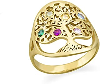 Tree of Life Ring Sliver Birthstone Ring Sterling Silver Family Tree Ring Custom Mother's Ring