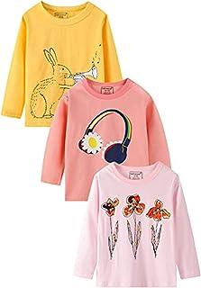 Kids 3 Pack Long Sleeve T-Shirt Tees Girls Boys Tees for...