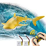 Remote Control Shark Toy for Pool 1:18 Scale High Simulation Shark 2.4GHz 2 x 500mAh Rechargeable Electric RC Shark Pool Toys for Kids 6+ Year Old Boys and Girls Gift Toys, Gold
