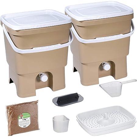 Skaza Bokashi Organko Set (2 x 16 L) Compostador 2X de Jardín y Cocina de Plástico Reciclado   Starter Set con EM Bokashi Polvo 1 Kg. (Cappuccino-Blanco)