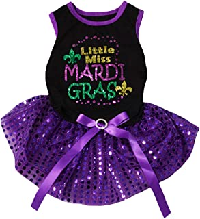 Petitebella Little Miss Mardi Gras Cotton Shirt Tutu Puppy Dog Dress