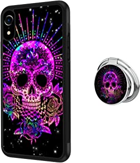 Designed Purple Sugar Skull iPhone Xr Case with Buckle Ring 360° Rotatable Silvery Durable Ring Buckle, TPU Black Antiskid Tread Phone Case for iPhone Xr