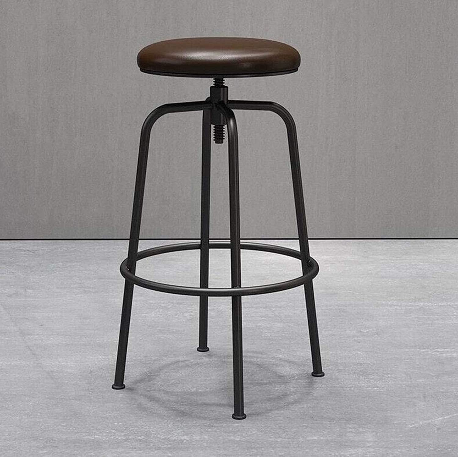 FENG Fan Iron Bar Stool Vintage Bar Chair Stool Dining Chair Leisure Lift Chair (color   Black, Size   60cm)