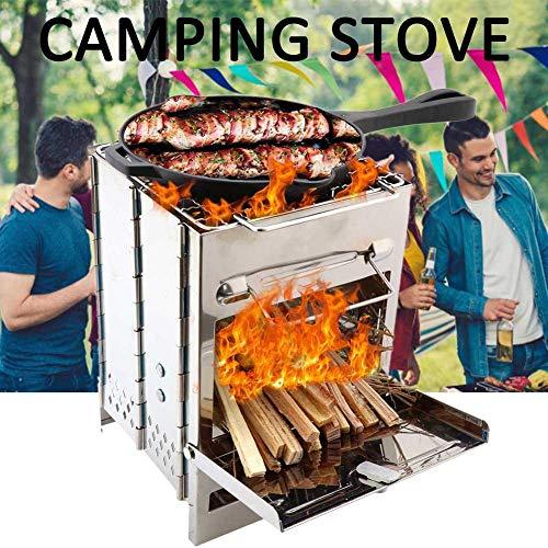 Pegtopone - Hornillo de camping portátil, mini horno de leña, plegable, hornillo de acero inoxidable ligero para exterior, senderismo, pícnic, barbacoa, con bolsa de almacenamiento Comfy