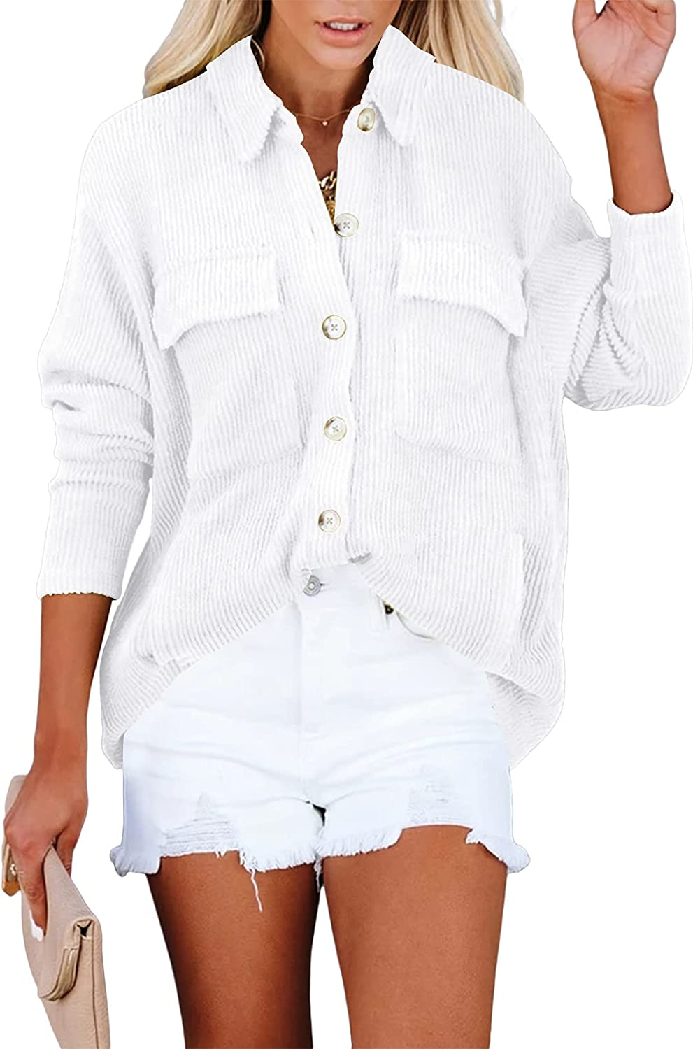 Linsery Women's Oversized Corduroy Jacket Long Sleeve Button Up Shirt Blouse Tops