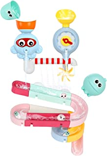 Auggie Toddler Bath Toys Bathtub Tub Toy Sprinkle Water Spinning Gear Waterfall Ball Track Set Wall Toy for 1 2 3 4 Years Old Kids Boys Girls