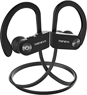 Bluetooth Headphones, TRINIDa IPX7 Waterproof Sport Wireless Headset for Running, Best in Ear Earbuds HiFi Stereo w/Mic 10 Hours Playback Gym Workout Passive Noise Cancel Wireless Earphones(Black)