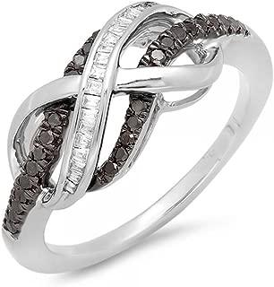 0.20 Carat (ctw) Black & White Diamond Swirl Infinity Two Tone Wedding Ring 1/5 CT, Sterling Silver