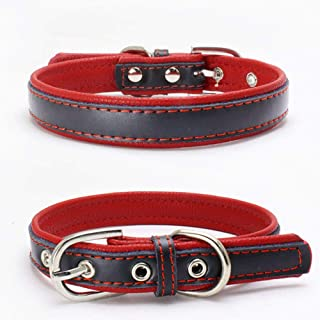 BONAWEN Dog Collar Padded Leather Soft Touch Pet Collar for Large,Medium,Small Dogs