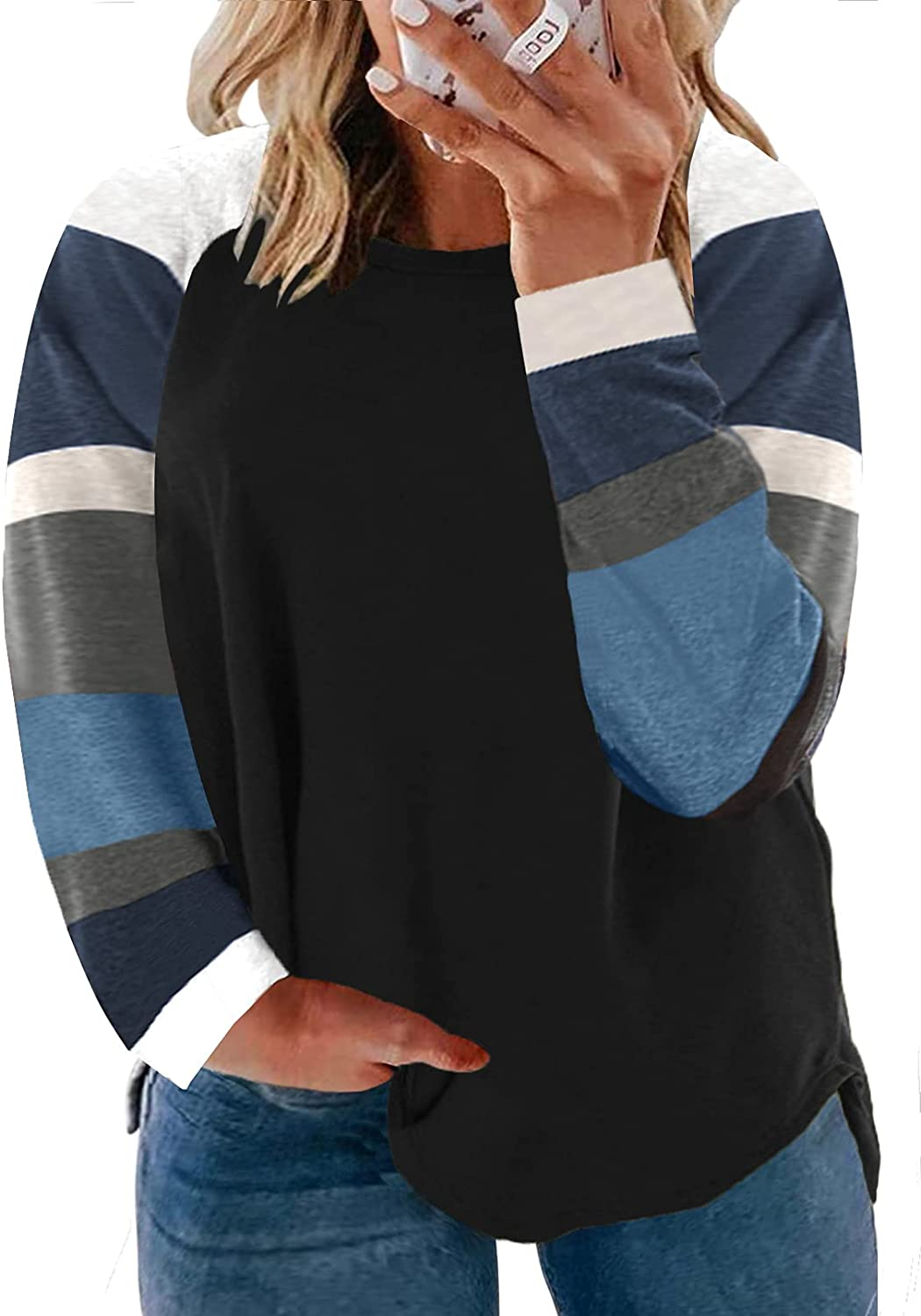 ROSKIKI Womens Plus Size Color Block Tunic Tops Long Sleeve T-Shirt Loose Blouse