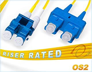 FiberCablesDirect - 1M OS2 LC SC Fiber Patch Cable | 10Gb Duplex 9/125 LC to SC Singlemode Jumper 1 Meter (3.28ft) | Length Options: 0.5M-300M | 1gb 10gb smf dup sfp 10gbase lr er Yellow ofnr sc-lc
