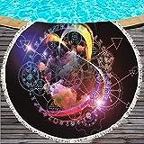 Simmia Home Tapis de Yoga à Personnaliser,Compact et sans Sable,pour La Plage extérieure,Voyage en Plein airLa Microfibre ne Se décolore Pas avec Une Serviette de Plage géométrique 150x150cm, 5