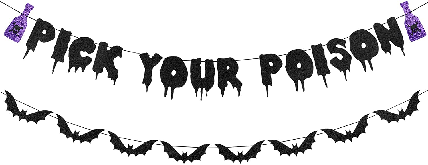 Pick Your Poison Banner Black Glitter, Halloween Bats Banner Decorations, Pick Your Poison Sign Bar Decorations, Halloween Party Witch Decorations, Halloween Haunted Houses Doorways Home Decor