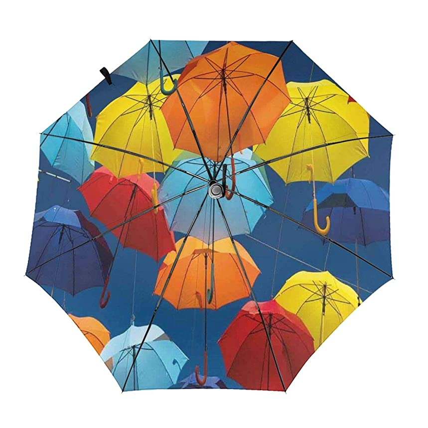 Automatic Open Close tri-fold Windproof Travel umbrella,Umbrellas Colors The Sky Traditional Portugal Festive European Culture Picture,InsidePrint
