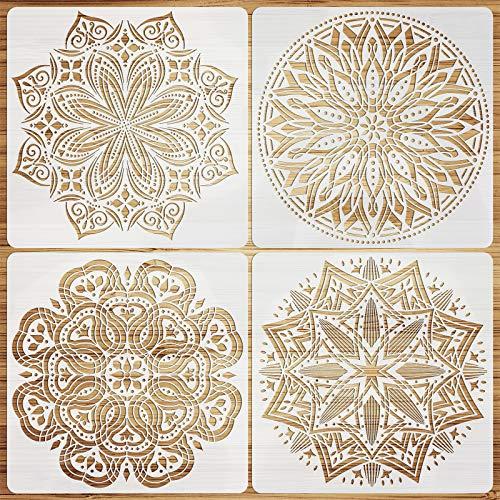 VETPW 4 Große Schablone Mandala Stencil Schablonen Zeichnen Set, Kunststoff Wiederzuverwendend Zeichenschablonen Vorlagen Planer Schablonen für Fußböden, Fenster, Möbel, Holz, Wanddeko, 30x30CM