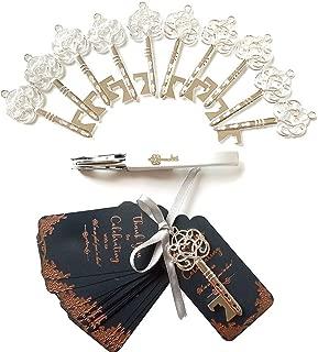 20pcs Key Bottle Openers, Wedding Favors for Guests Party Favors Rustic Vintage Skeleton Key Bottle Opener with Escort Card Tag, Bridal Shower Favors, Antique Decoration (Silver)