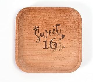 صينية خشبية مربعة - صينية 11.9 سم للخاتم والقلادة والسوار والأقراط والمجوهرات أو الإكسسوارات الصغيرة، صينية مفاتيح.