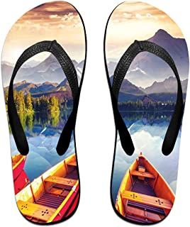 66bcff30b7d7 Velorest Funny Summer Flip Flop, Dreamy Majestic Mountains View Reflections  from Shore with Boats Pastoral