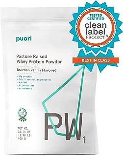 Puori - PW1 Pastured Raised Whey Protein Powder, Non-GMO, 21g Protein, Vanilla, 1.98lbs