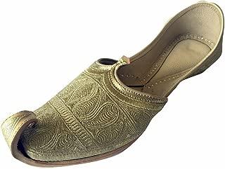 Men's Flat Full Gold Zari Khussa Shoes Pakistani Style Punjabi Jutti