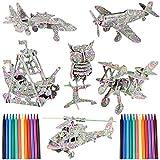 FORMIZON Puzzle 3D Niños, 6 Pack Puzzle Colorante 3D Elefante Dinosaurio con 24 Rotuladores, DIY Arts Crafts Puzzle Kit de Juguete de Rompecabezas 3D, Regalo Navidad de Cumpleaño para Niños Niñas