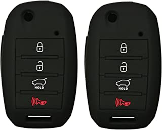 2Pcs Coolbestda Silicone 4buttons Flip Key Fob Remote Skin Cover Protector Keyless Entry Case for Kia Sorento Sportage Rio Soul Forte Optima Carens Black (Not Fit Smart Key Fob)