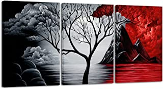 Wieco Art - The Cloud Tree 3 Piece Large Modern Gallery Wrapped Giclee Canvas Prints Abstract Seascape Paintings Reproduct...