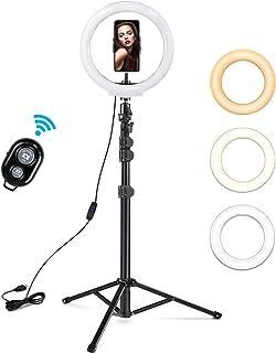 Rhodesy LED-ringlampa 10 tum med stativstativ och telefonhållare, dimbar selfie-ringlampa med 3 ljuslägen och 10 ljusstyrk...