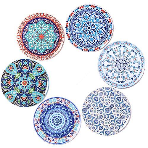 BOHORIA Premium Design Untersetzer 6er Set Dekorative Untersetzer fur Glas, Tassen, Vasen, Kerzen auf ihrem Holz-, Glas- oder Stein- Esstisch Boho Edition,Orient