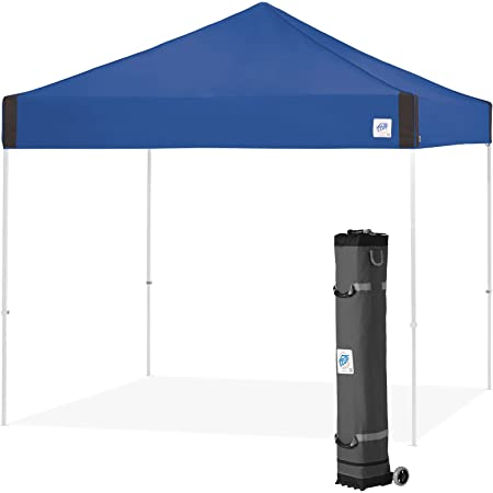 E-Z UP PR3WH10RB Pyramid Shelter, 10' x 10' with Wide-Trax Roller Bag & 4 Piece Spike Set, Royal Blue Instant Canopy Popup Tent, 10 by 10'