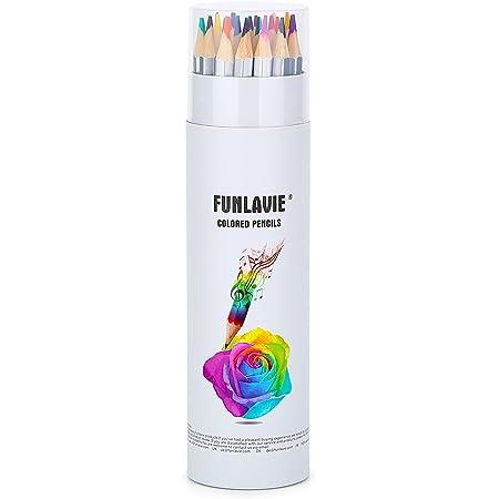FUNLAVIE Colored Pencils 24 Coloring Pencils Premium Art Drawing Pencil for Adults Coloring Book