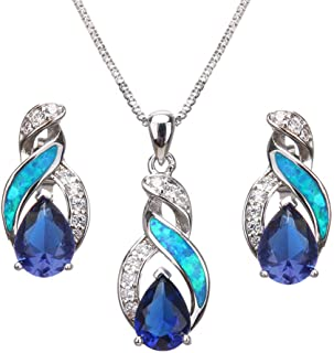 Hermosa Jewelry Sets Australian Created-Opal Necklace Earrings Mother's Day Gifts