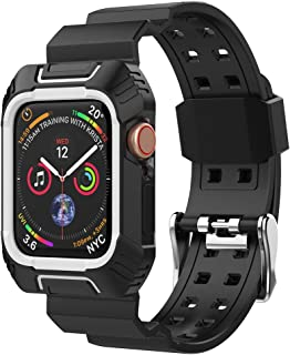 Mostof Compatible for Apple Watch Band 44mm with Case, Soft Sport Band Straps Wristband with Shock Proof Protective Rugged Bumper Case Compatible iWatch Series 4 (Black White)
