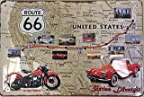 Ruta 66 EE.UU. Carretera Map Coche Moto Antigua Garaje 3D Metal/Cartel De Acero Para Pared - 30 x 20 cm