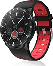 Smart Watch Fitness Tracker, HopoFit HF06 Full Circle Touch Screen Smartwatch, Heart Rate Monitor Sleep Activity Tracker, SMS Call Reminder, Waterproof Pedometer for Android iOS, Men Women (red)
