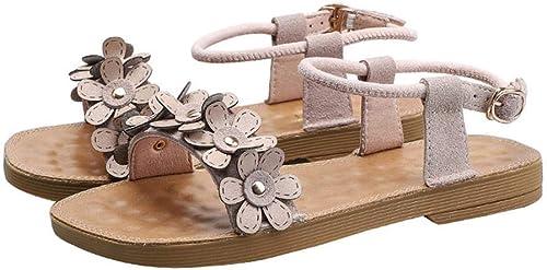 Sandales d'été pour Femmes Sauvages de de de Grande Taille, Sandales Plates, Ceinture, Mot, Sandales Romaines, Chaussures de Plage de Vacances 877